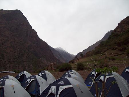 The trekkers camped by night