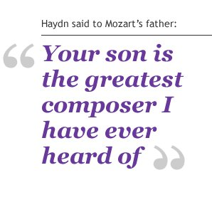 haydn said to mozarts father: Your son is the greatest composer I have ever heard of