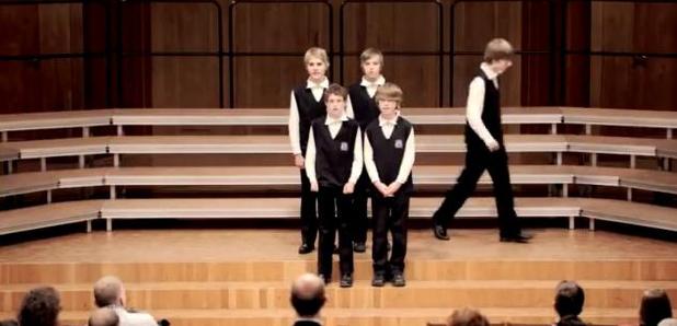 boys choir walk out