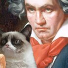 Beethoven with grumpy cat