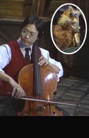 Yo-Yo Ma and Hoots the owl on Sesame Street