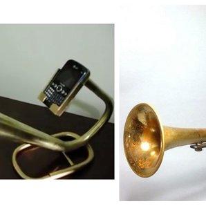 Brass horn phone holder