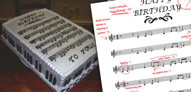 happy birthday music theory cake