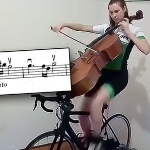 cellist on exercise bike
