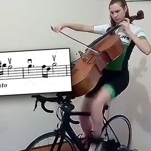 cellist on exercise bike